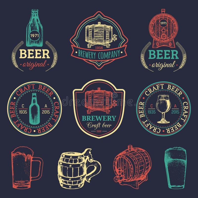Old brewery logos set. Kraft beer retro images with hand sketched glass, barrel etc. Vector vintage labels or badges. royalty free illustration