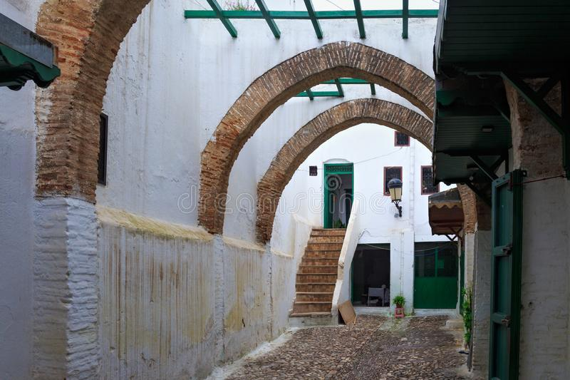 Old brick ancient arches in Tetouan Medina quarter in Northern Morocco. stock images