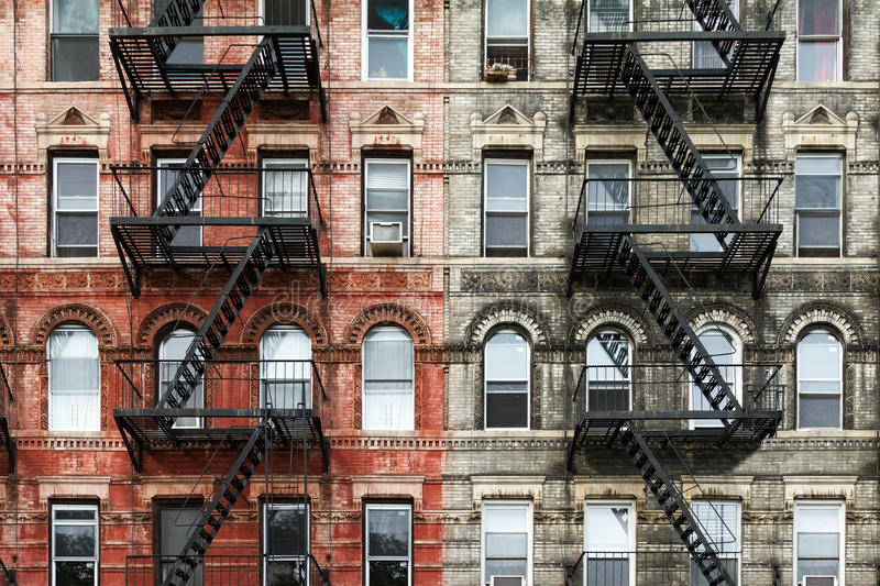 Download Old Brick Apartment Buildings In New York City Stock Image - Image of manhattan, downtown: 78534495