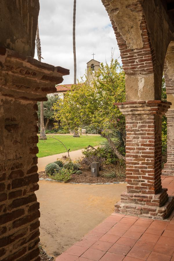 Old cloisters in San Juan Capistrano mission royalty free stock photo