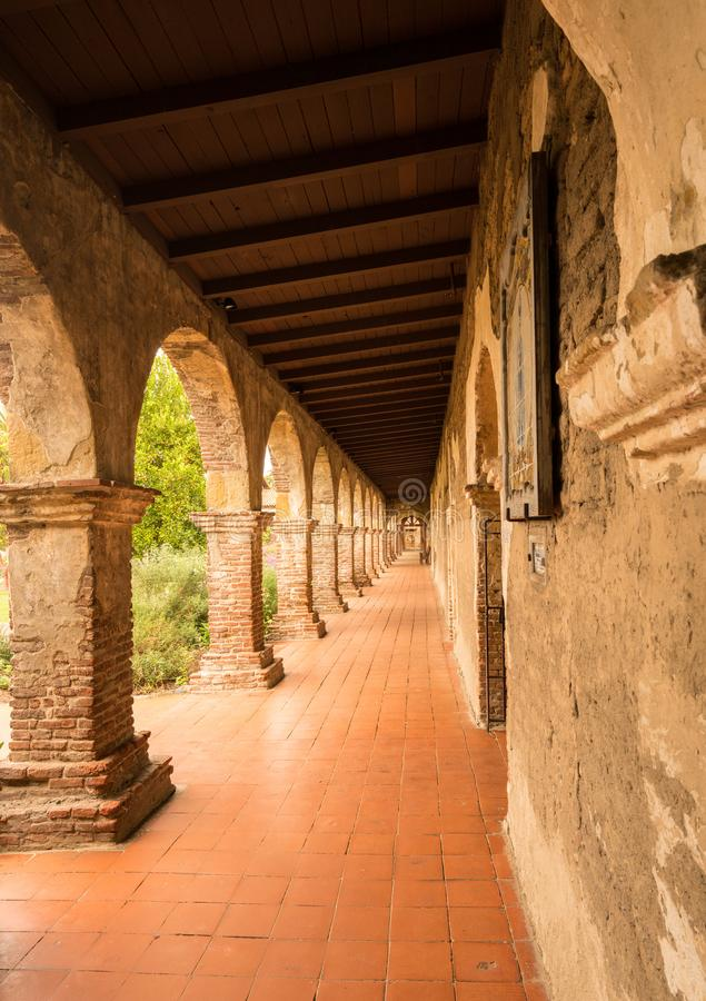 Old cloisters in San Juan Capistrano mission stock photos