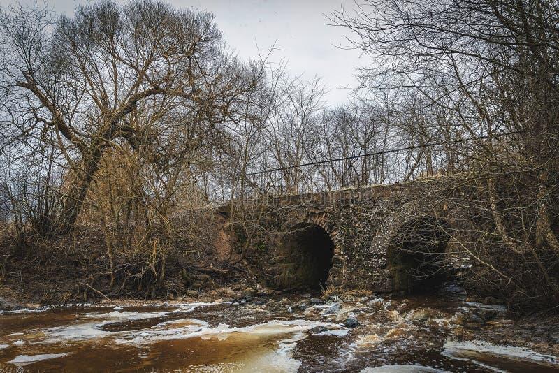 Old brick bridge stock photo