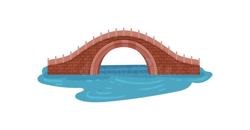 Old brick bridge over blue river. Arch footbridge. Landscape element for city park. Architecture theme. Flat vector royalty free illustration