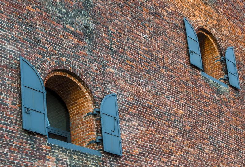 Old brick building in Dumbo, Brooklyn, New York City. Old brick building with windows in Dumbo neighborhood, New York City, USA during daytime royalty free stock photo