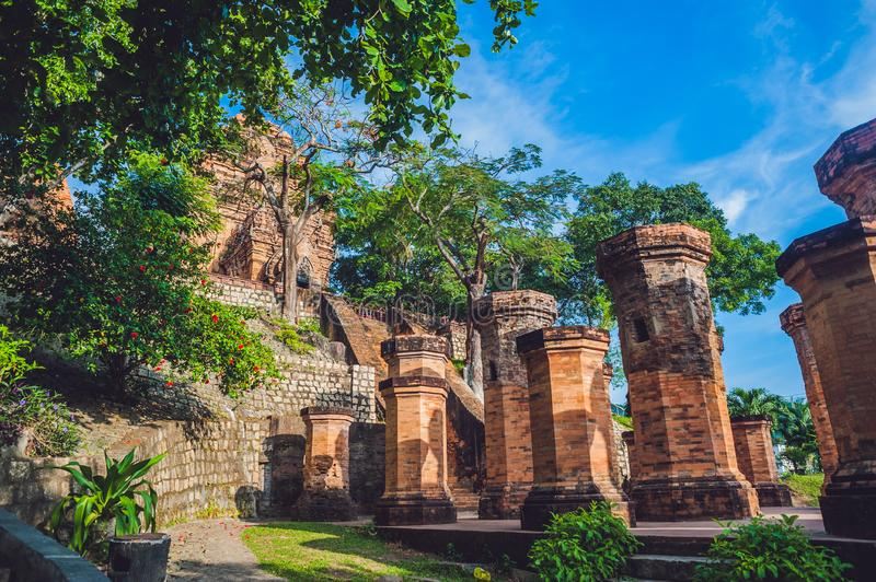 Old Brick cham towers in Nha Trang, landmark Vietnam. Asia Travel concept. Journey through Vietnam Concept stock images