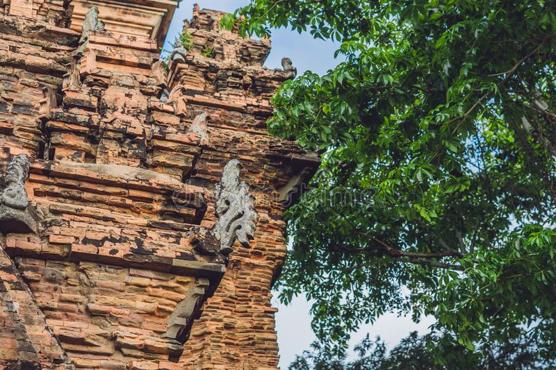 Old Brick cham towers in Nha Trang, landmark Vietnam. Asia Travel concept. Journey through Vietnam Concept royalty free stock image
