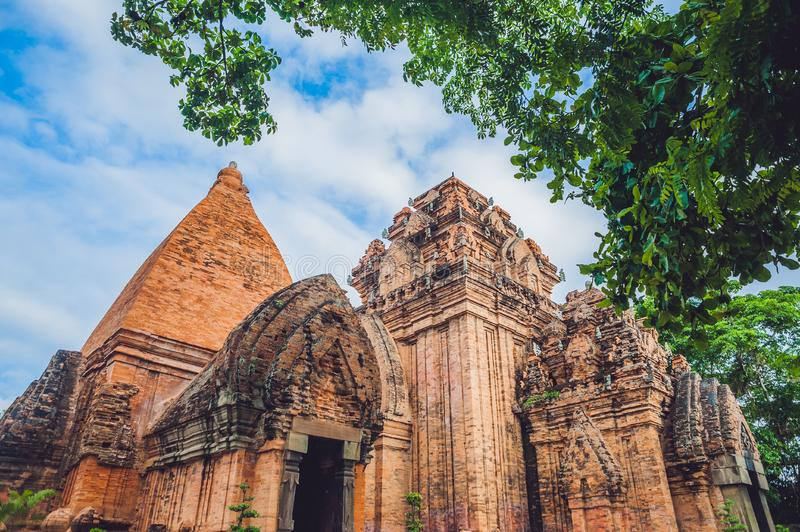 Old Brick cham towers in Nha Trang, landmark Vietnam. Asia Travel concept. Journey through Vietnam Concept royalty free stock images