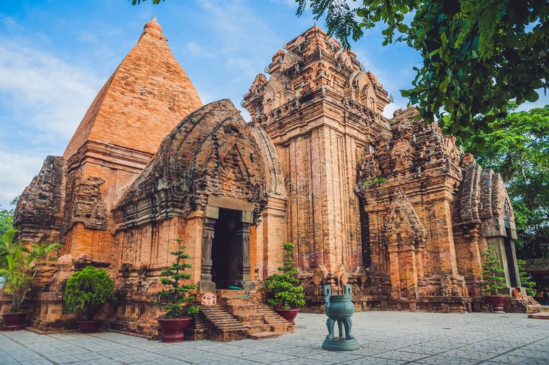 Old Brick cham towers in Nha Trang, landmark Vietnam. Asia Travel concept. Journey through Vietnam Concept stock photography