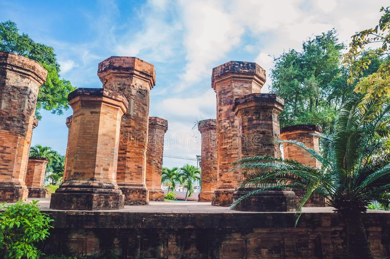 Old Brick cham towers in Nha Trang, landmark Vietnam. Asia Travel concept. Journey through Vietnam Concept stock photos