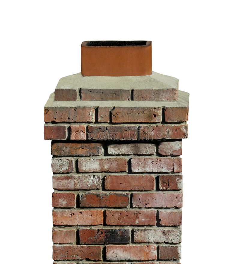 Old brick chimney isolated. Old and worn small brick and mortar roof chimney. Isolated on white stock photography