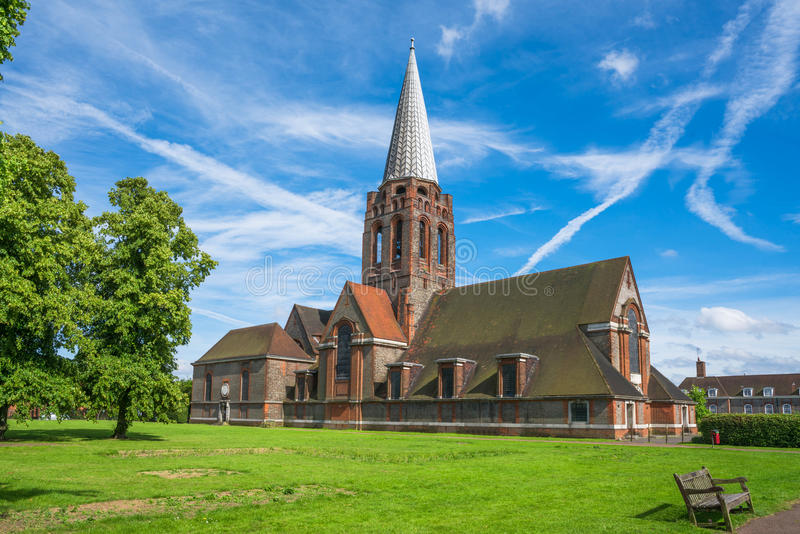 Old brick church. In the Hampstead Garden Suburb square, London, UK royalty free stock photography