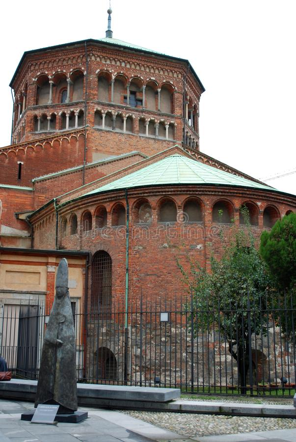 Old brick church. There is an old brick church in Milan, Italy stock photo