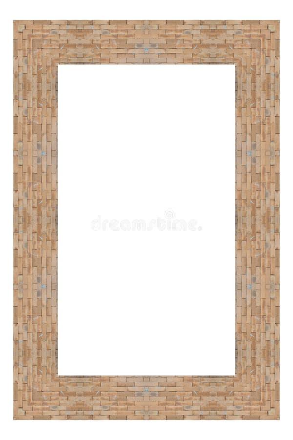 Old brick frame. Old brick frame isolated on white background stock images