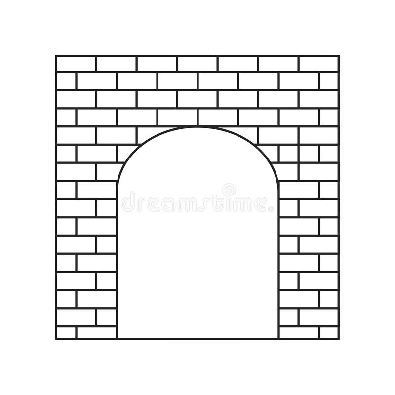 An old brick gate thin line icon vector illustration