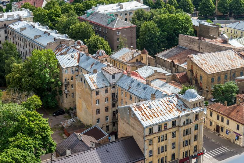 Old brick houses with rusty roofs, Riga, Latvia top view royalty free stock photos
