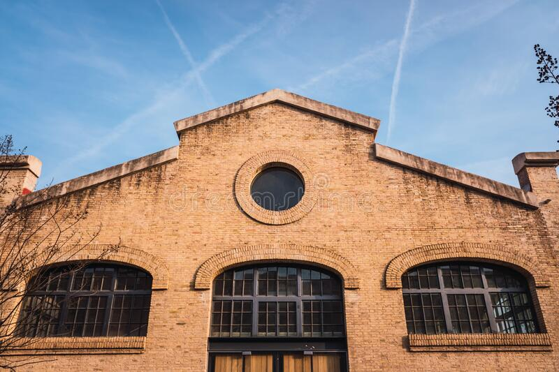 Old brick industrial buildings renovated for social uses of the city in Valencia, Spain.  royalty free stock image