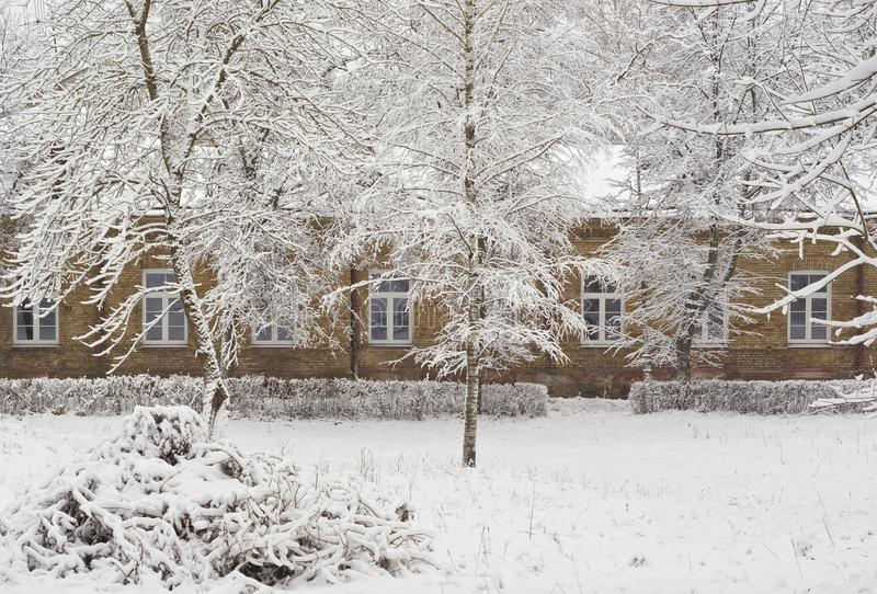 Download Old Brick Mansion In Winter Season Stock Photo - Image: 12396838
