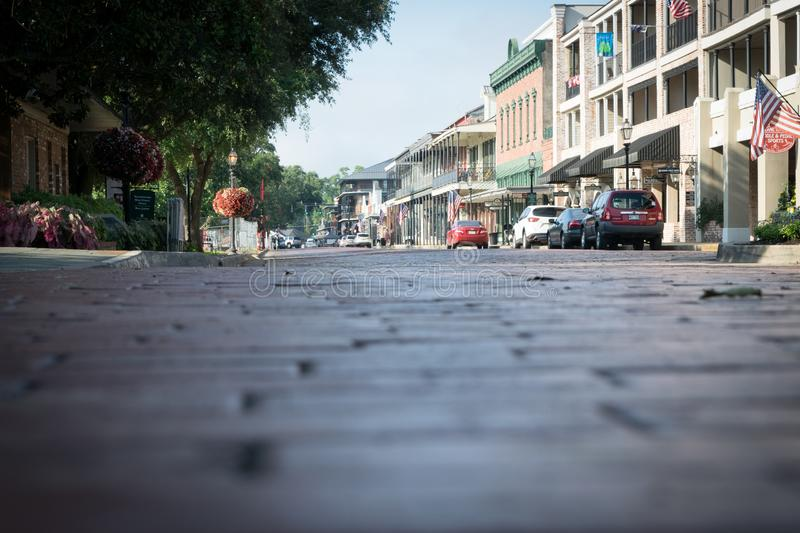 Old brick pavers on Front Street in Natchitoches royalty free stock image