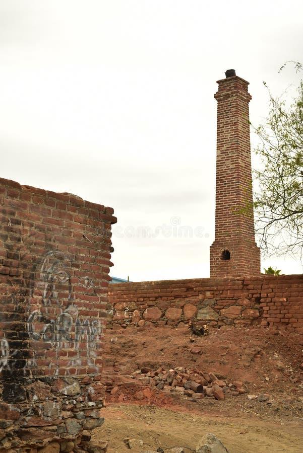 Ruins of old brick sugar mill in Todos Santos, Baja, Mexico. Old brick ruins of abandoned sugar mill in the small town of Todos Santos, Baja, Mexico stock images