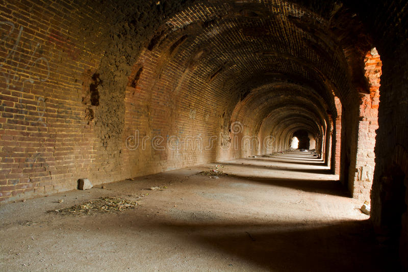 Old brick tunnel royalty free stock image