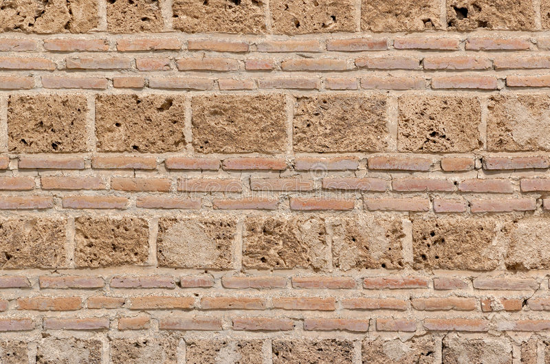 Old brick wall. Example to old Ottoman architecture, detail from wall of Nicea Museum building, built in 1388, 200 km South of Istanbul, Turkey royalty free stock image