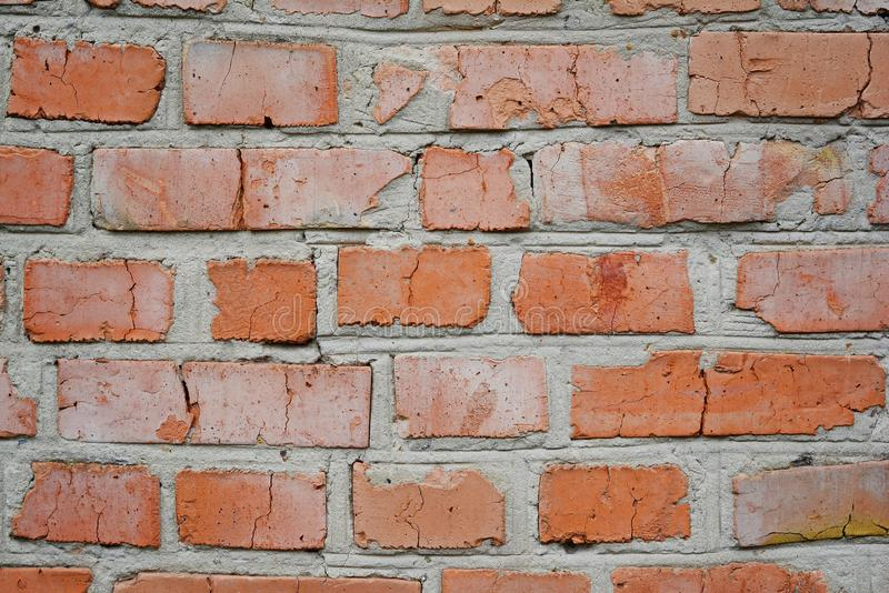 Old brick wall in a background image. Grungy Wide Brickwall. Grunge Red Stonewall Background. Shabby Building Facade stock image