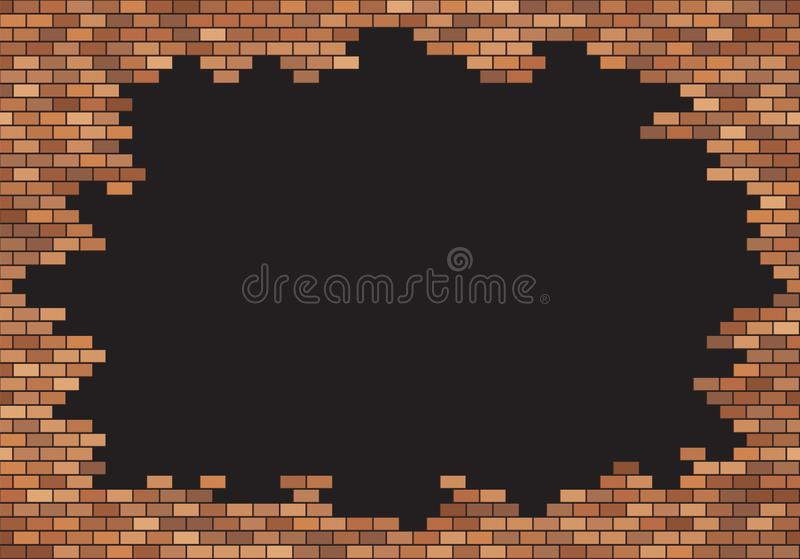 Old brick wall background. Red bricks texture. Frame border vector. Copy space template vector illustration