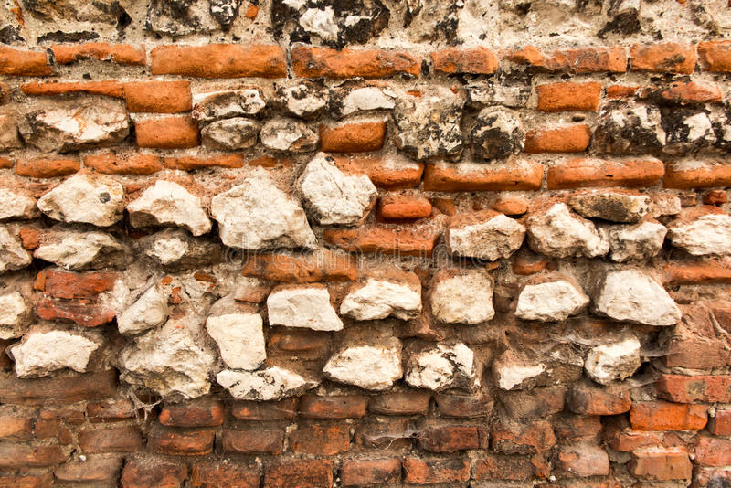 Old brick wall with crumbling bricks royalty free stock images