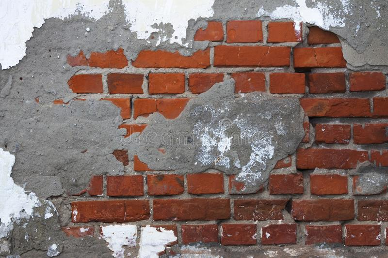 Old brick wall, plaster stock photography
