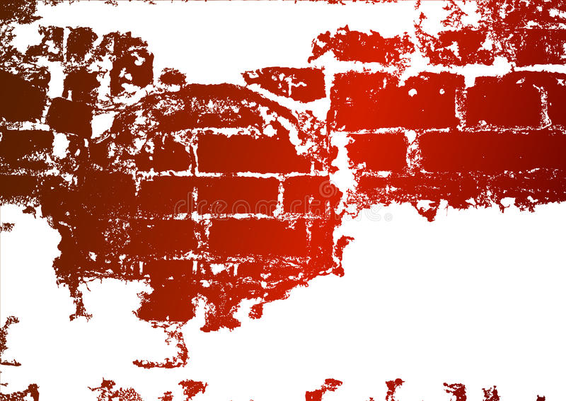 Old brick wall, stained whitewash. And a place for the text royalty free illustration