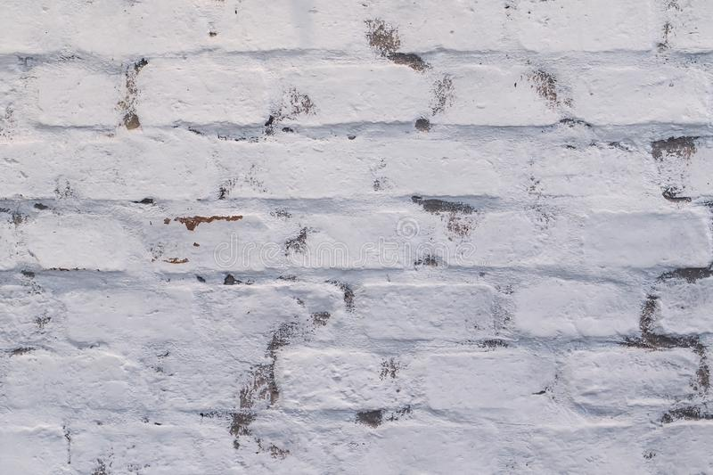 Old brick wall texture painted white royalty free stock images