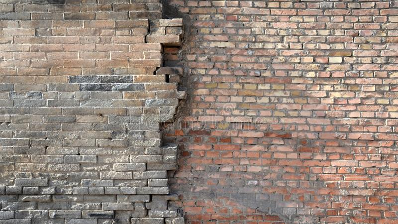 Old brick walls connect the new brick walls. The old brick walls connect the new brick walls and combine the less perfect walls. The combination of the new and stock photography