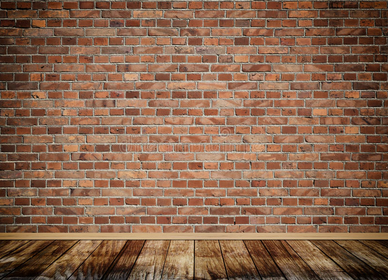 Old bricks wall background. Old bricks wall and old wooden floor for the design royalty free illustration