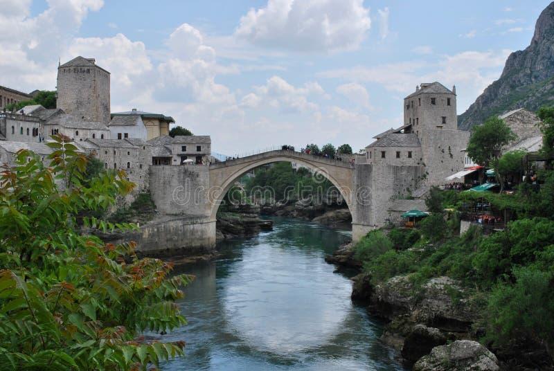 Old Bridge Across The Neretva River in Mostar, Bosnia and Herzegovina. Iconic location stock photo