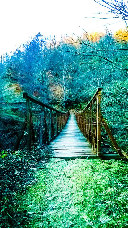 Old bridge autumn 2018 Vranje Serbia. An old wooden bridge the countryside Jablanica Vranje Serbia autumn 2018 stock photography