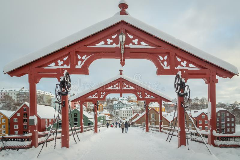 Old bridge called Gamle Bybro. Trondheim in Norway in winter time stock photography