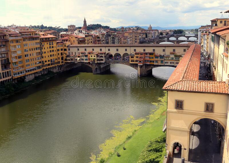 Old Bridge called Ponte Vecchio and Vasari Corridor in Florence royalty free stock images