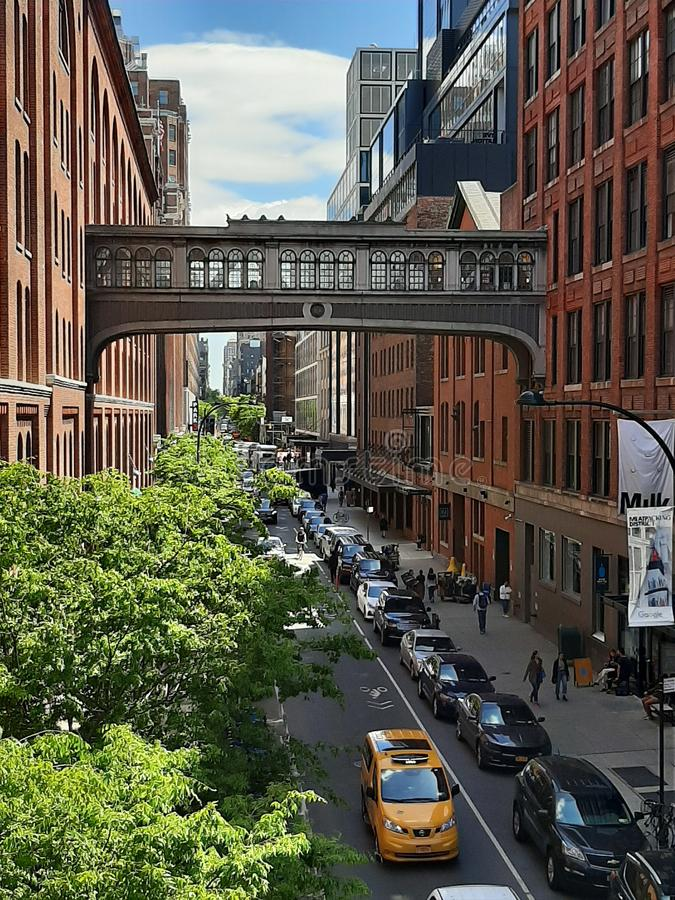 Bridge that connects two buildings in Manhattan, NYC. Old bridge that connects two buildings in Manhattan, NYC, seen from the Highline Park stock image