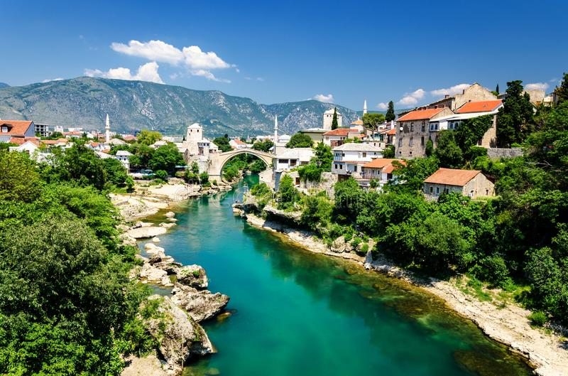 Old bridge and emerald Neretva river in Mostar, Bosnia and Herzegovina. Old town Mostar in Bosnia and herzegovina stock photos