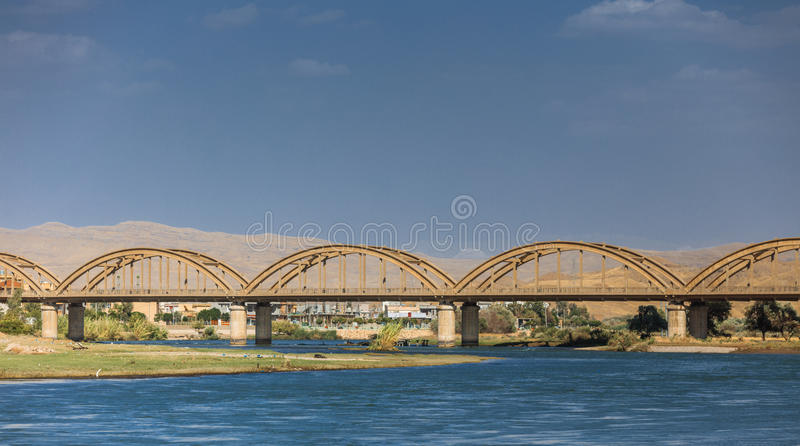 Old bridge in Iraq. Old Bridge Renovated recently on the Dijla river in Iraq royalty free stock photo