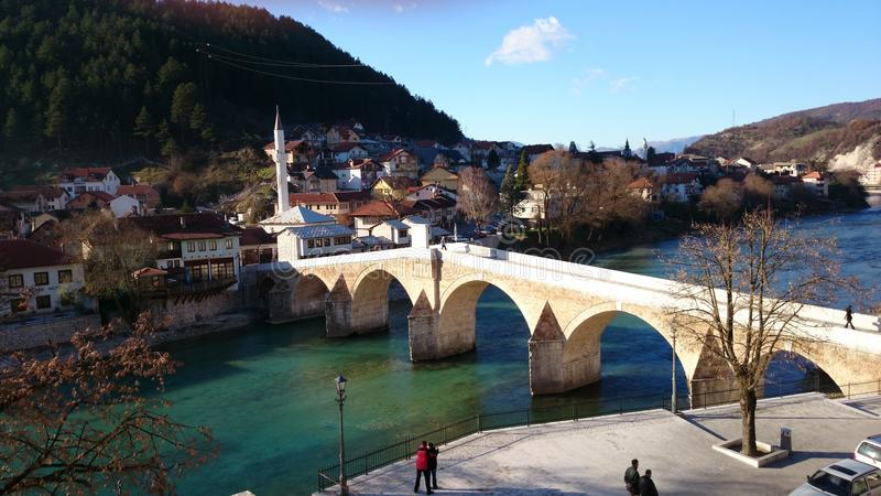 Old bridge in Konjic stock image