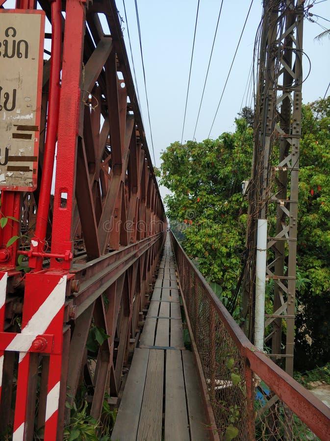 The old bridge in Luang Prabang royalty free stock photos