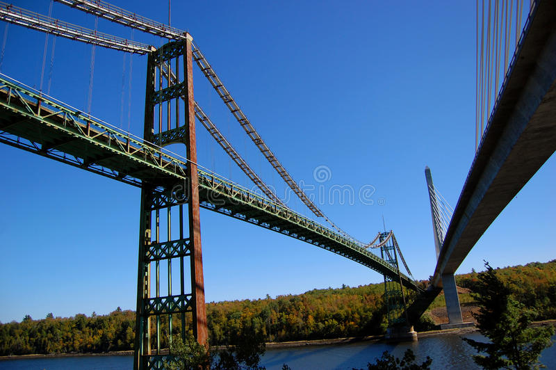Download Old Bridge And Modern Bridge, Maine Stock Image - Image of connect, rust: 19758983