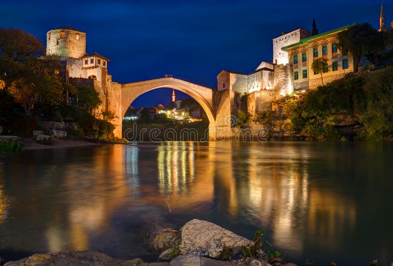 Old bridge in Mostar, Bosnia and Herzegovina, over Neretva river. The bridge was designed by Mimar Hayruddin, a student and apprentice of the Ottoman architect royalty free stock photos