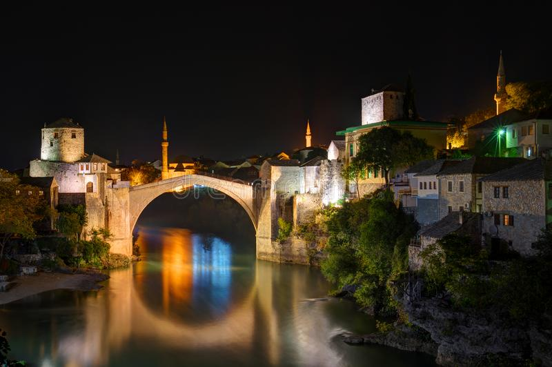 Old bridge in Mostar, Bosnia and Herzegovina, over Neretva river. The bridge was designed by Mimar Hayruddin, a student and apprentice of the Ottoman architect royalty free stock images
