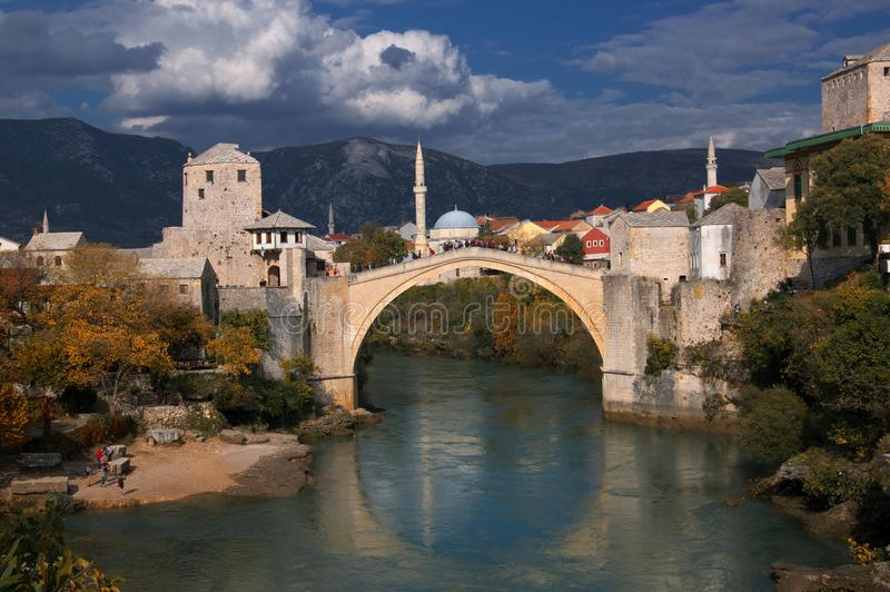 Old bridge in Mostar, Bosnia and Herzegovina, over Neretva river. The bridge was designed by Mimar Hayruddin, a student and apprentice of the Ottoman architect royalty free stock image