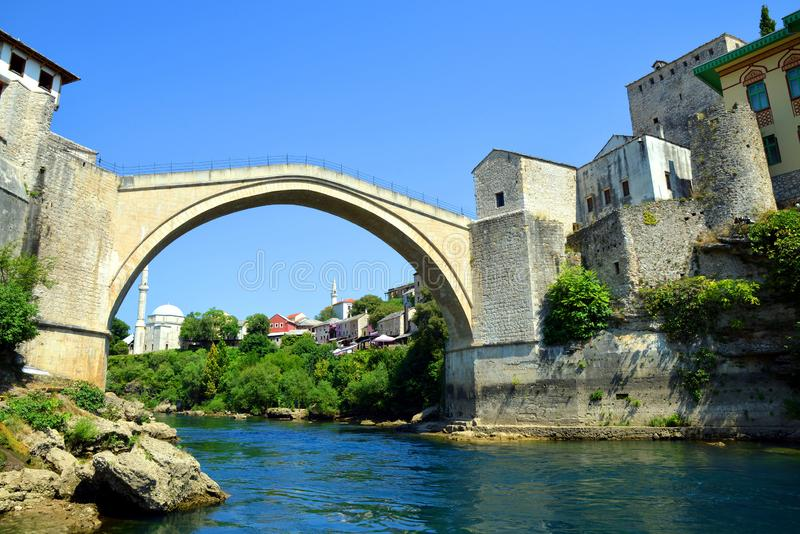The Old Bridge in Mostar, Bosnia and Herzegovina. The Old Bridge in Mostar with river Neretva. Bosnia and Herzegovina stock photo