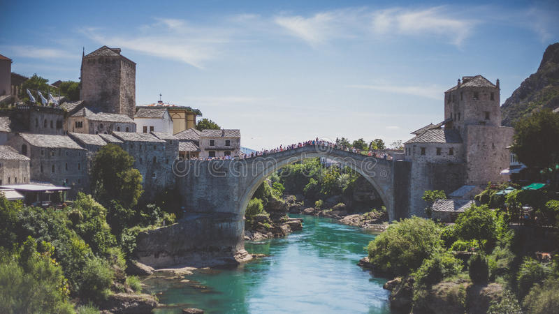 Old Bridge in Mostar stock images
