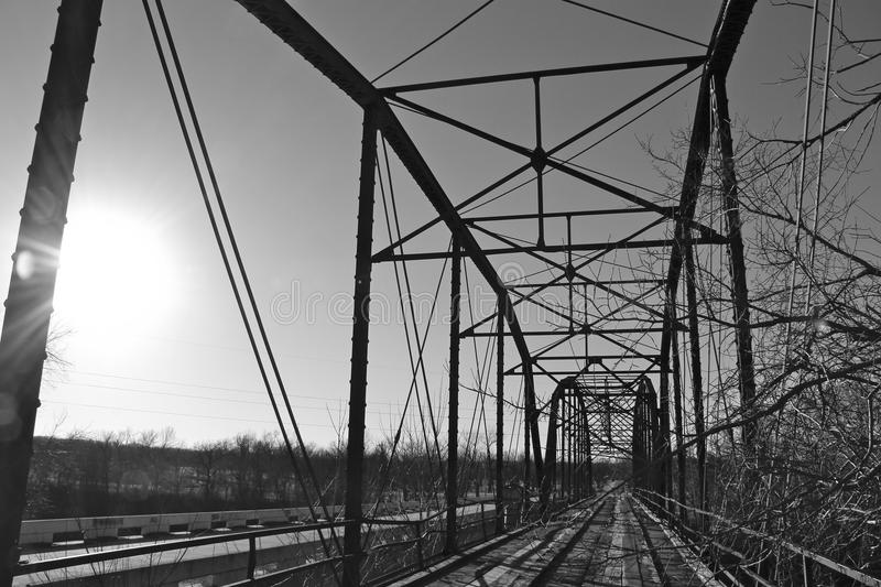Old Bridge out side Oolagah Oklahoma. Built in 1909 by Canton Bridge Company, it spans the Verdigris River north of Oologah Wildlife Area in Nowata County stock photo