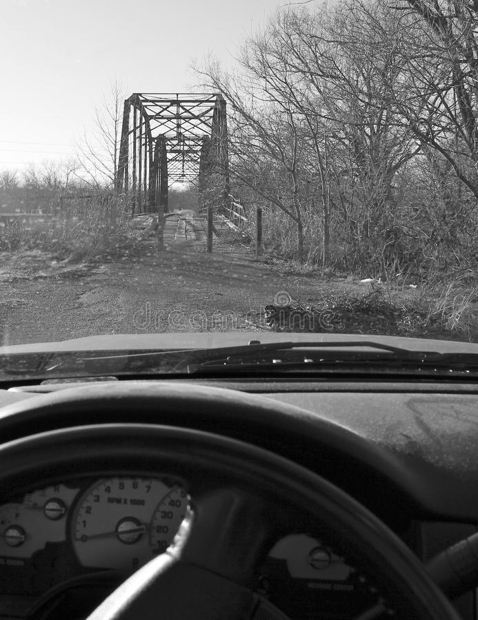 Old Bridge out side Oolagah Oklahoma. Built in 1909 by Canton Bridge Company, it spans the Verdigris River north of Oologah Wildlife Area in Nowata County stock image